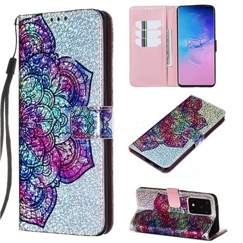 Glutinous Flower Sequins Painted Leather Wallet Case for Samsung Galaxy S20 Ultra / S11 Plus