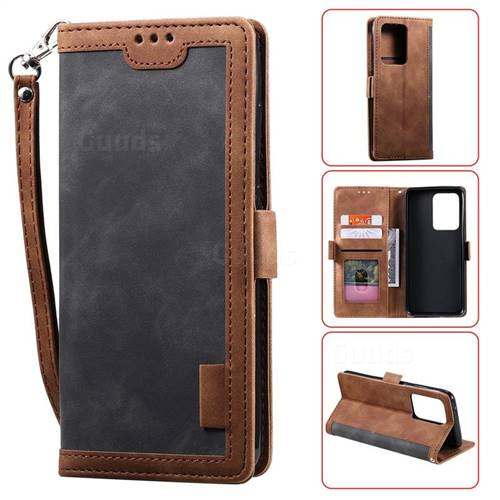 Luxury Retro Stitching Leather Wallet Phone Case for Samsung Galaxy S20 Ultra / S11 Plus - Gray