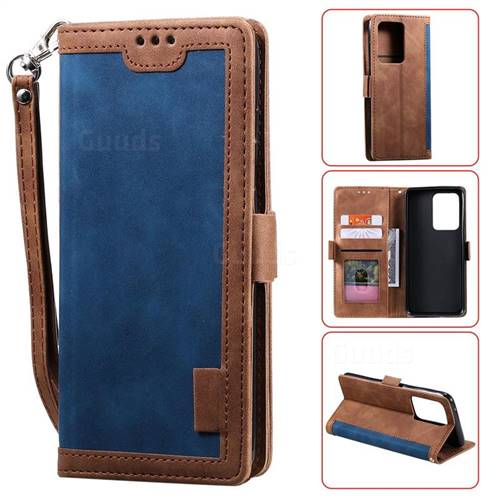 Luxury Retro Stitching Leather Wallet Phone Case for Samsung Galaxy S20 Ultra / S11 Plus - Dark Blue