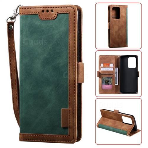 Luxury Retro Stitching Leather Wallet Phone Case for Samsung Galaxy S20 Ultra / S11 Plus - Dark Green