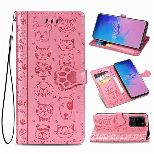 Embossing Dog Paw Kitten and Puppy Leather Wallet Case for Samsung Galaxy S20 Ultra / S11 Plus - Pink