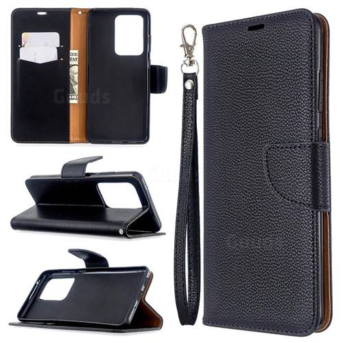 Classic Luxury Litchi Leather Phone Wallet Case for Samsung Galaxy S20 Ultra / S11 Plus - Black