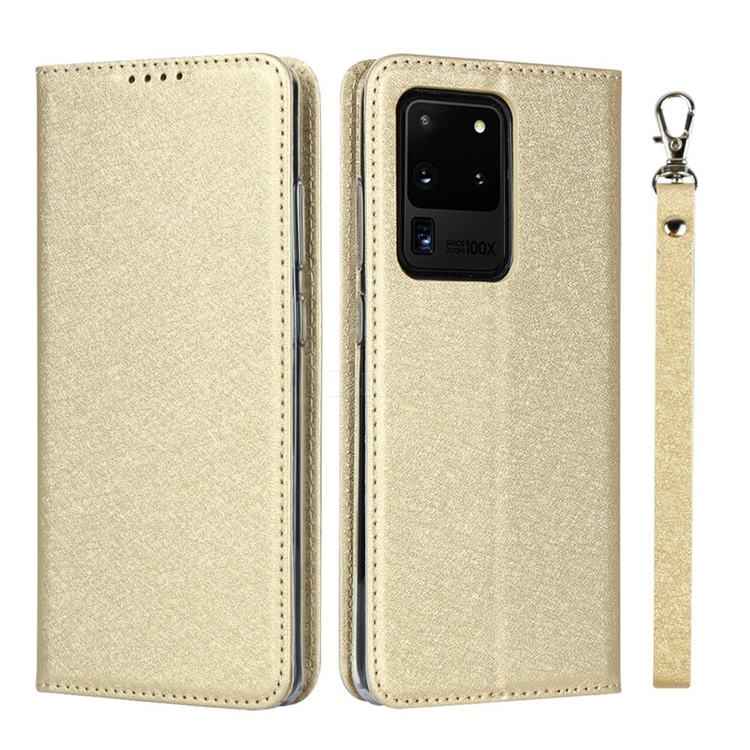 Ultra Slim Magnetic Automatic Suction Silk Lanyard Leather Flip Cover for Samsung Galaxy S20 Ultra / S11 Plus - Golden