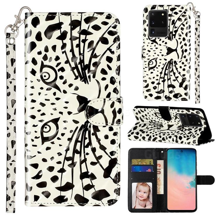 Leopard Panther 3D Leather Phone Holster Wallet Case for Samsung Galaxy S20 Ultra / S11 Plus