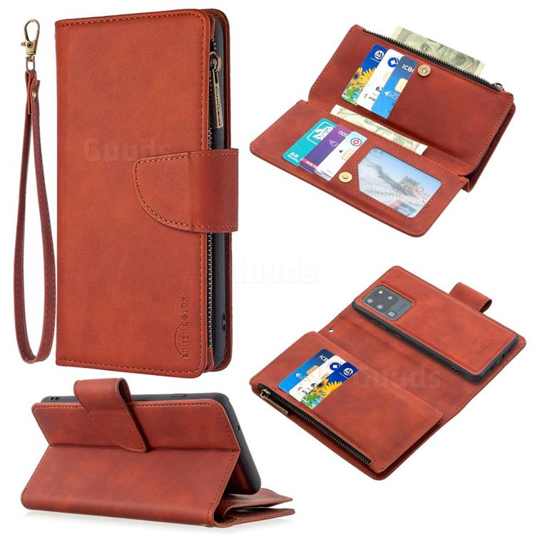 Binfen Color BF02 Sensory Buckle Zipper Multifunction Leather Phone Wallet for Samsung Galaxy S20 Ultra / S11 Plus - Brown