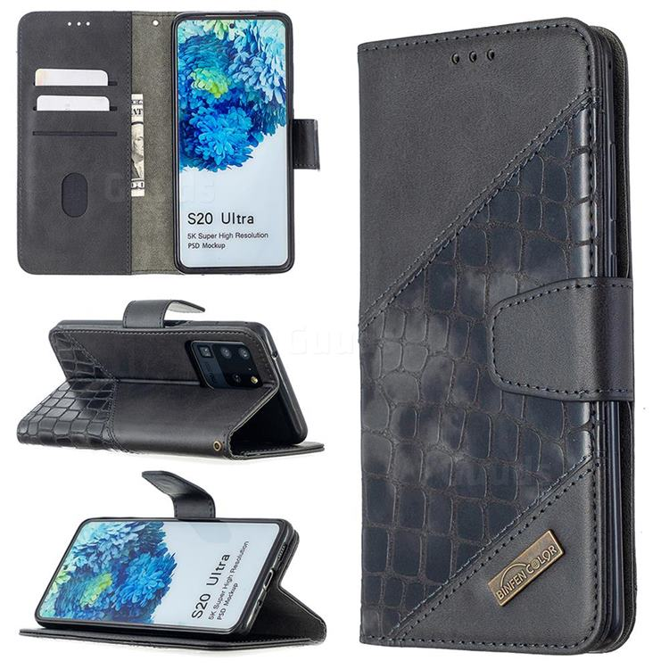 BinfenColor BF04 Color Block Stitching Crocodile Leather Case Cover for Samsung Galaxy S20 Ultra / S11 Plus - Black