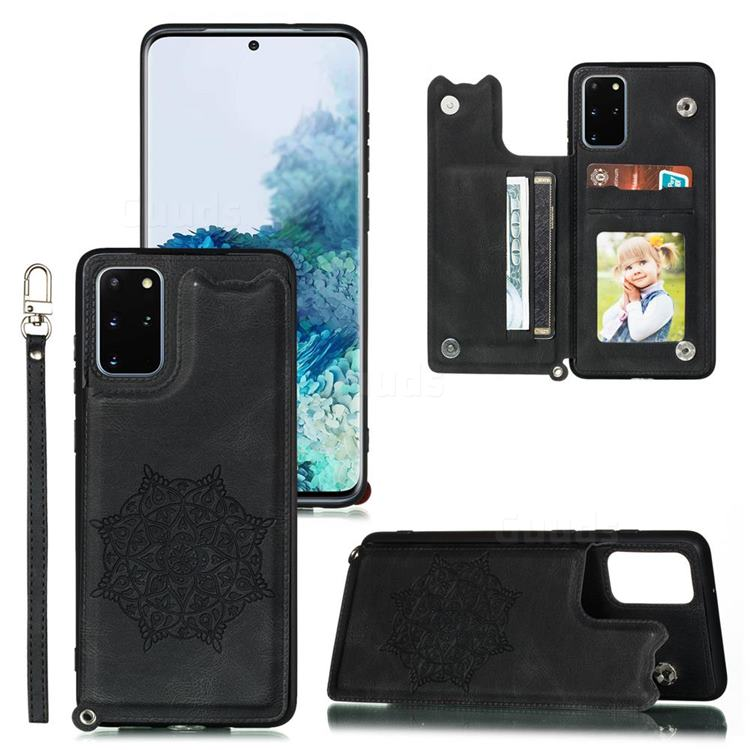 Luxury Mandala Multi-function Magnetic Card Slots Stand Leather Back Cover for Samsung Galaxy S20 Ultra / S11 Plus - Black