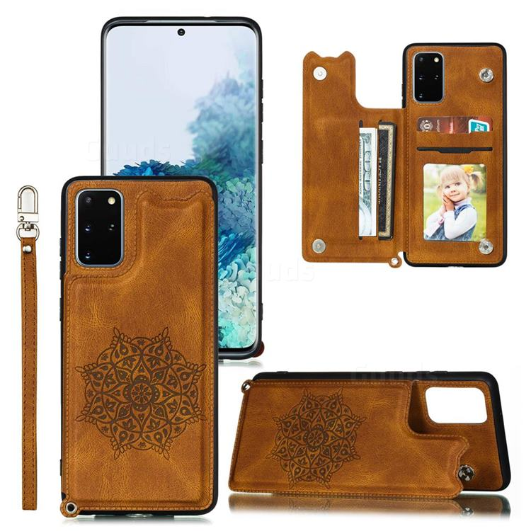 Luxury Mandala Multi-function Magnetic Card Slots Stand Leather Back Cover for Samsung Galaxy S20 Ultra / S11 Plus - Brown