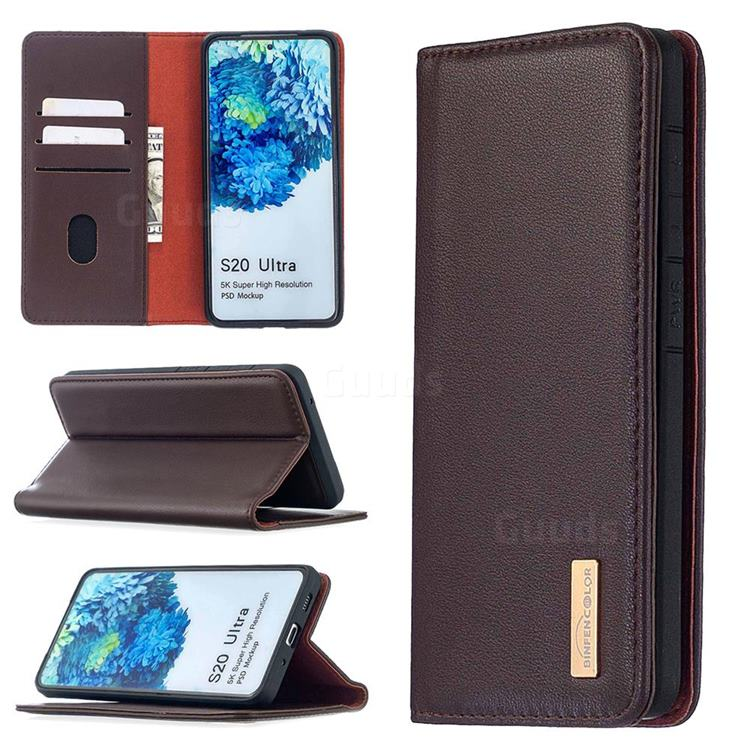 Binfen Color BF06 Luxury Classic Genuine Leather Detachable Magnet Holster Cover for Samsung Galaxy S20 Ultra / S11 Plus - Dark Brown
