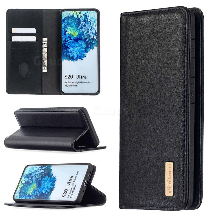 Binfen Color BF06 Luxury Classic Genuine Leather Detachable Magnet Holster Cover for Samsung Galaxy S20 Ultra / S11 Plus - Black