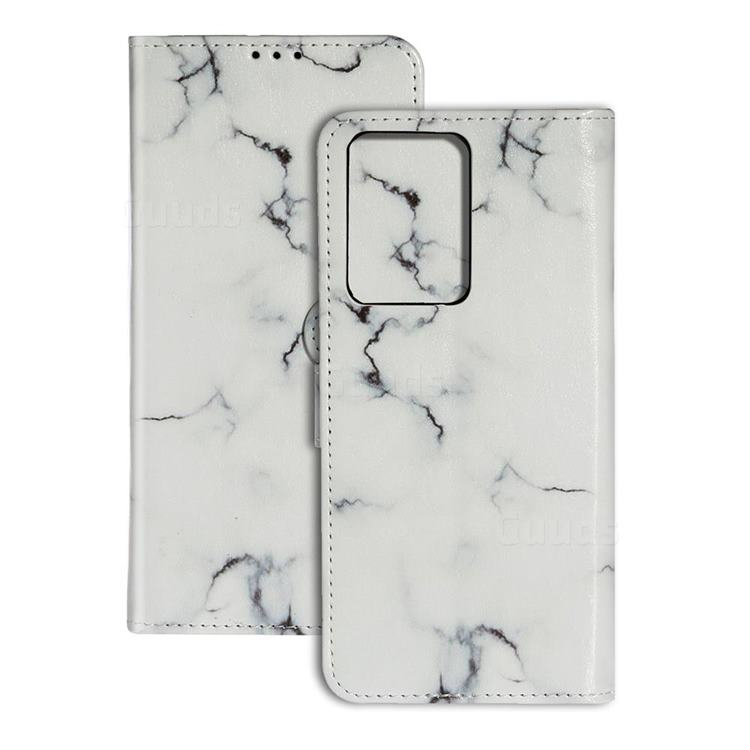 Soft White Marble PU Leather Wallet Case for Samsung Galaxy S20 Ultra / S11 Plus