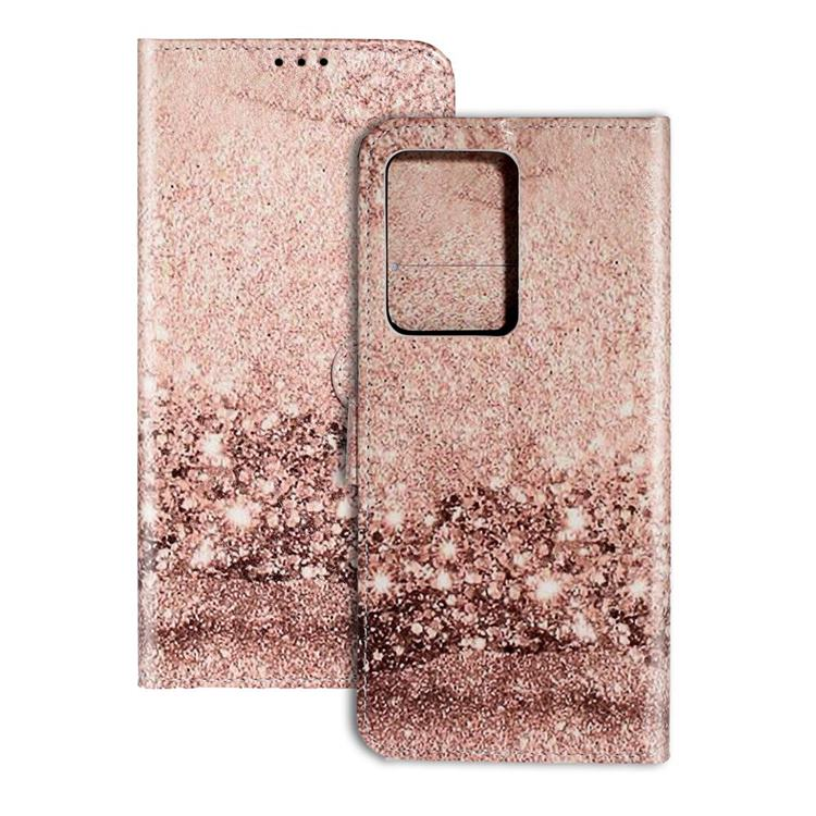 Glittering Rose Gold PU Leather Wallet Case for Samsung Galaxy S20 Ultra / S11 Plus