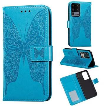 Intricate Embossing Vivid Butterfly Leather Wallet Case for Samsung Galaxy S20 Ultra / S11 Plus - Blue
