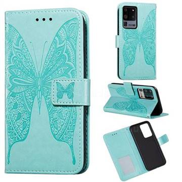 Intricate Embossing Vivid Butterfly Leather Wallet Case for Samsung Galaxy S20 Ultra / S11 Plus - Green
