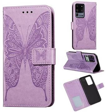 Intricate Embossing Vivid Butterfly Leather Wallet Case for Samsung Galaxy S20 Ultra / S11 Plus - Purple