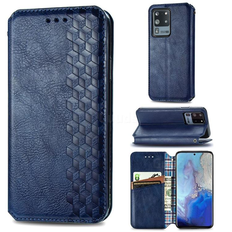 Ultra Slim Fashion Business Card Magnetic Automatic Suction Leather Flip Cover for Samsung Galaxy S20 Ultra / S11 Plus - Dark Blue