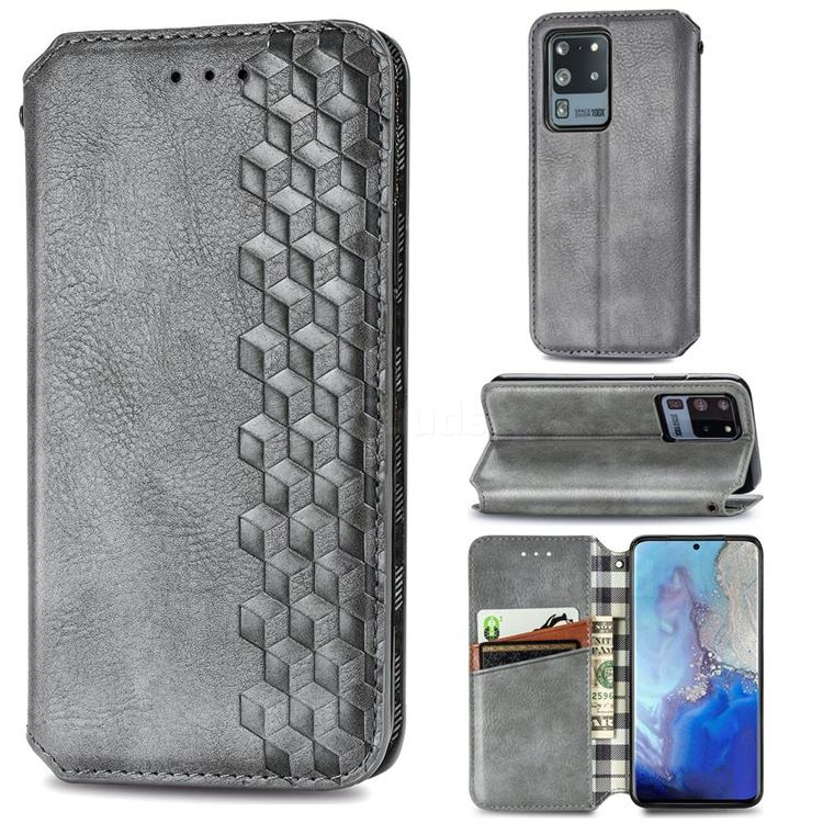 Ultra Slim Fashion Business Card Magnetic Automatic Suction Leather Flip Cover for Samsung Galaxy S20 Ultra / S11 Plus - Grey