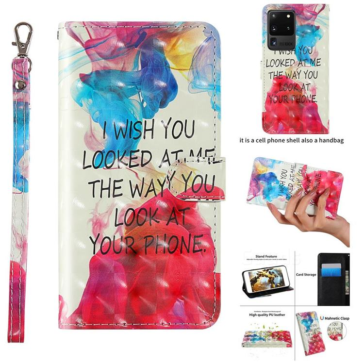 Look at Phone 3D Painted Leather Wallet Case for Samsung Galaxy S20 Ultra / S11 Plus