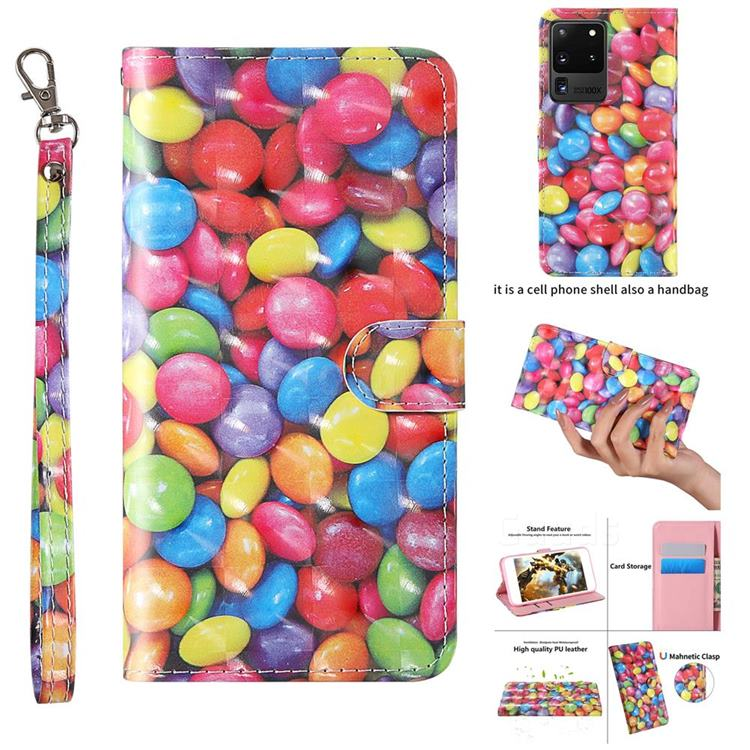 Colorful Jelly Beans 3D Painted Leather Wallet Case for Samsung Galaxy S20 Ultra / S11 Plus