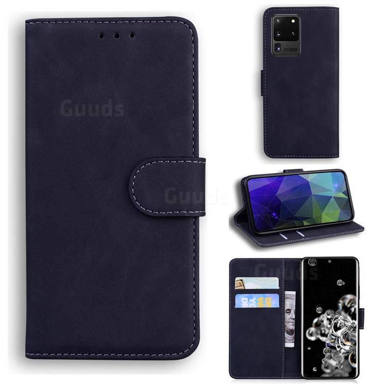 Retro Classic Skin Feel Leather Wallet Phone Case for Samsung Galaxy S20 Ultra / S11 Plus - Black