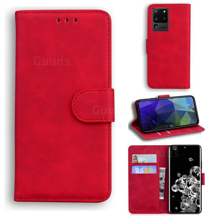 Retro Classic Skin Feel Leather Wallet Phone Case for Samsung Galaxy S20 Ultra / S11 Plus - Red