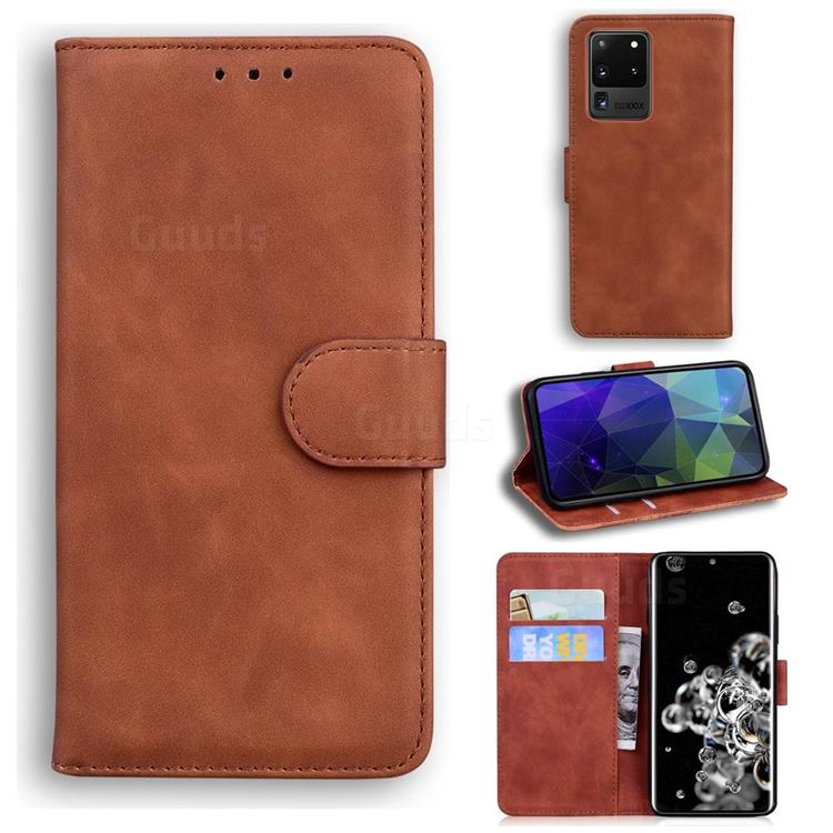 Retro Classic Skin Feel Leather Wallet Phone Case for Samsung Galaxy S20 Ultra / S11 Plus - Brown