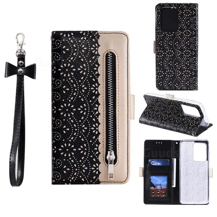 Luxury Lace Zipper Stitching Leather Phone Wallet Case for Samsung Galaxy S20 Ultra - Black