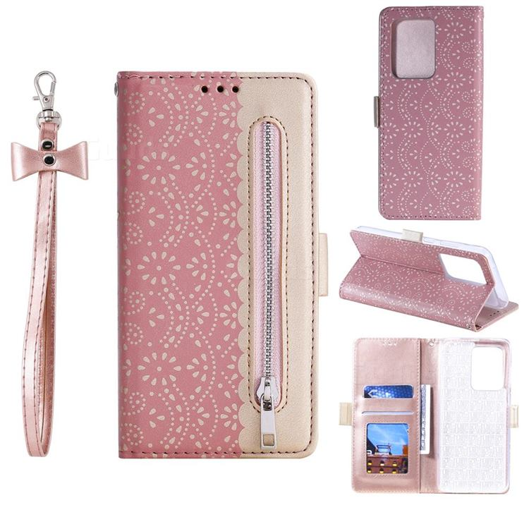 Luxury Lace Zipper Stitching Leather Phone Wallet Case for Samsung Galaxy S20 Ultra - Pink