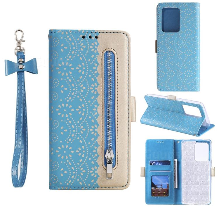 Luxury Lace Zipper Stitching Leather Phone Wallet Case for Samsung Galaxy S20 Ultra - Blue