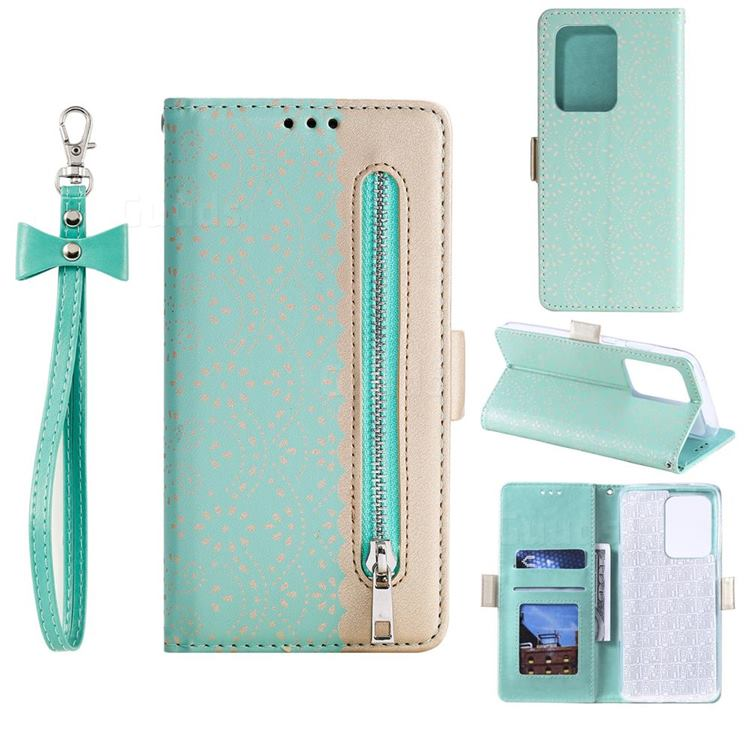 Luxury Lace Zipper Stitching Leather Phone Wallet Case for Samsung Galaxy S20 Ultra - Green