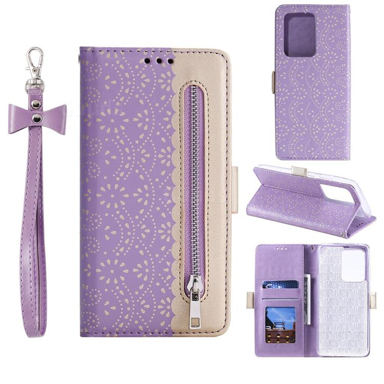 Luxury Lace Zipper Stitching Leather Phone Wallet Case for Samsung Galaxy S20 Ultra - Purple