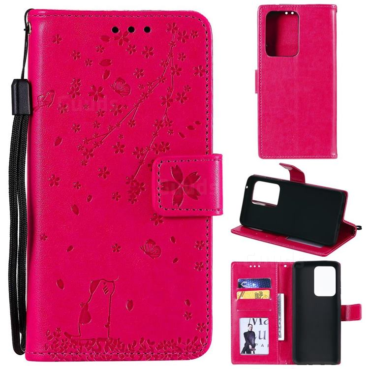 Embossing Cherry Blossom Cat Leather Wallet Case for Samsung Galaxy S20 Ultra - Rose