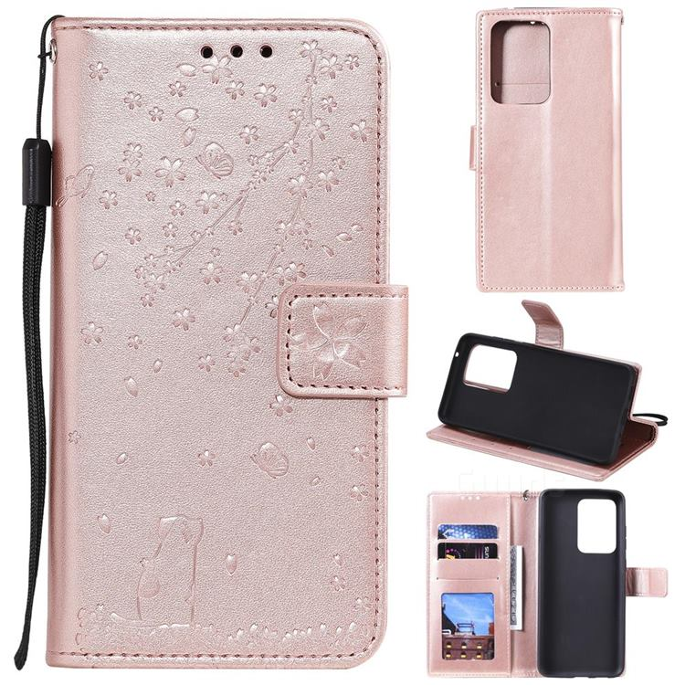 Embossing Cherry Blossom Cat Leather Wallet Case for Samsung Galaxy S20 Ultra - Rose Gold
