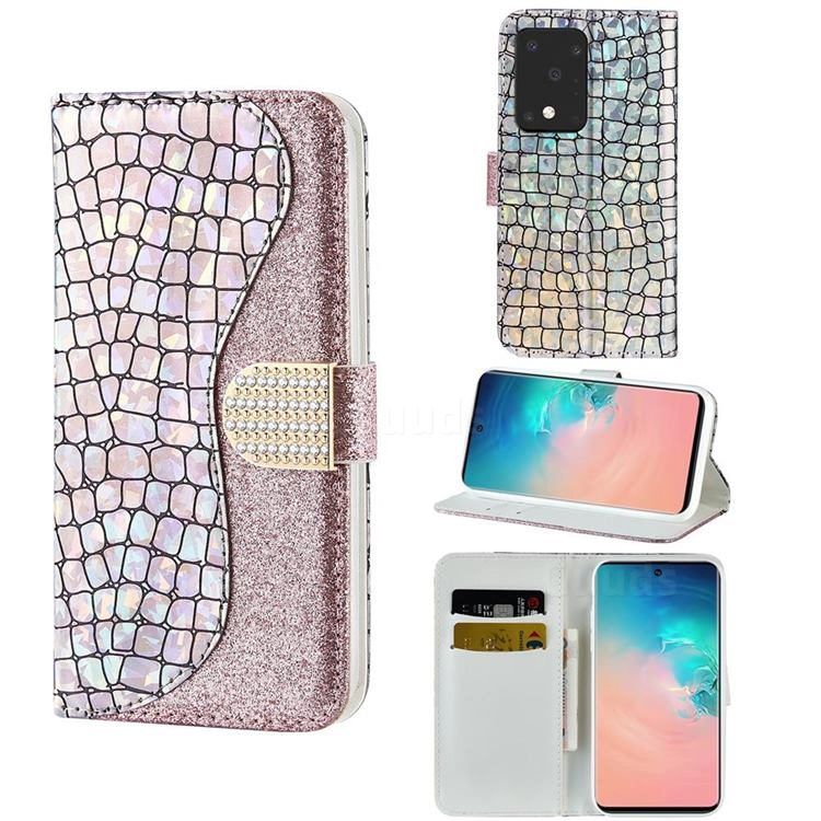 Glitter Diamond Buckle Laser Stitching Leather Wallet Phone Case for Samsung Galaxy S20 Ultra - Pink