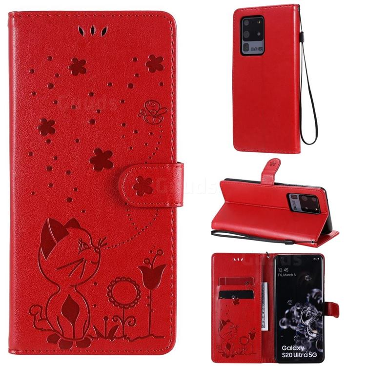 Embossing Bee and Cat Leather Wallet Case for Samsung Galaxy S20 Ultra - Red