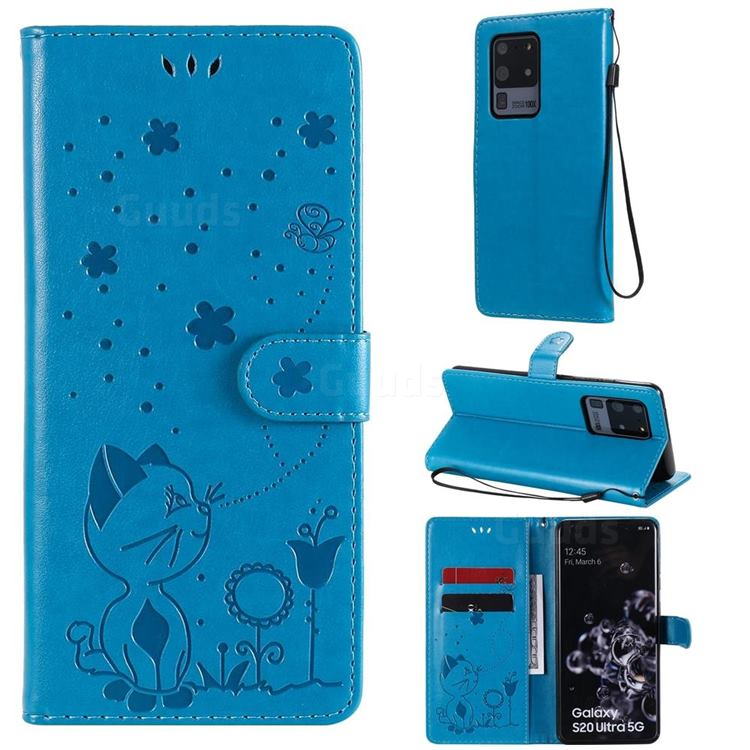 Embossing Bee and Cat Leather Wallet Case for Samsung Galaxy S20 Ultra - Blue
