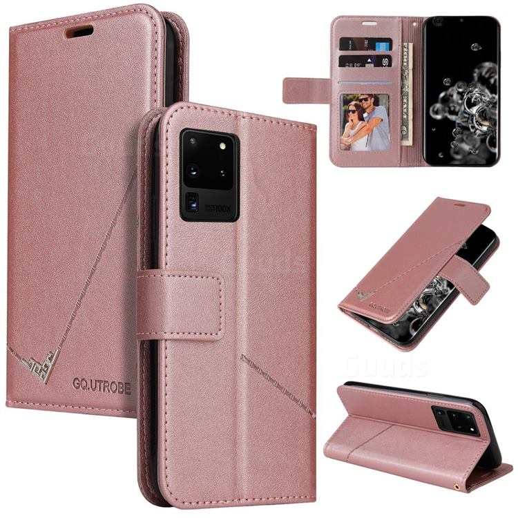 GQ.UTROBE Right Angle Silver Pendant Leather Wallet Phone Case for Samsung Galaxy S20 Ultra - Rose Gold