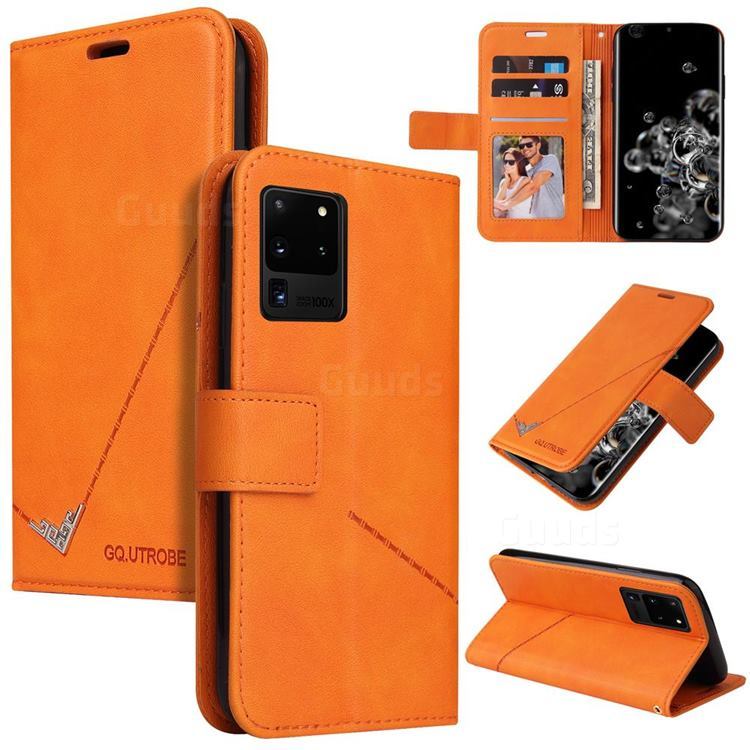 GQ.UTROBE Right Angle Silver Pendant Leather Wallet Phone Case for Samsung Galaxy S20 Ultra - Orange