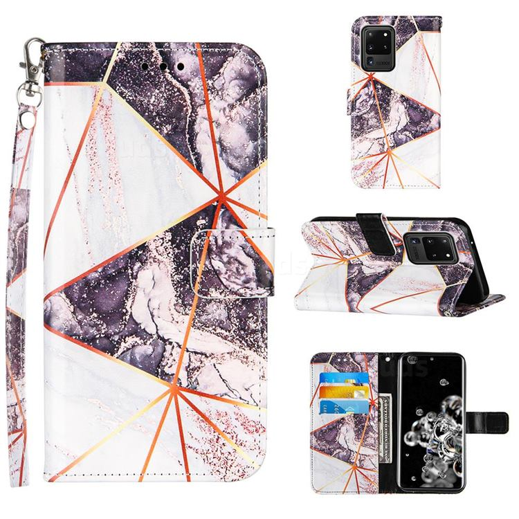 Black and White Stitching Color Marble Leather Wallet Case for Samsung Galaxy S20 Ultra