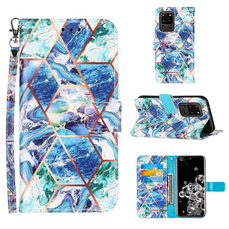 Green and Blue Stitching Color Marble Leather Wallet Case for Samsung Galaxy S20 Ultra