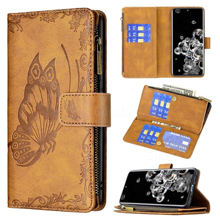 Binfen Color Imprint Vivid Butterfly Buckle Zipper Multi-function Leather Phone Wallet for Samsung Galaxy S20 Ultra - Brown