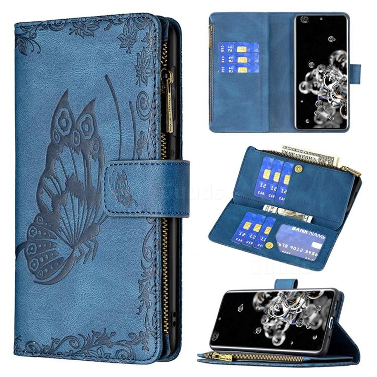 Binfen Color Imprint Vivid Butterfly Buckle Zipper Multi-function Leather Phone Wallet for Samsung Galaxy S20 Ultra - Blue