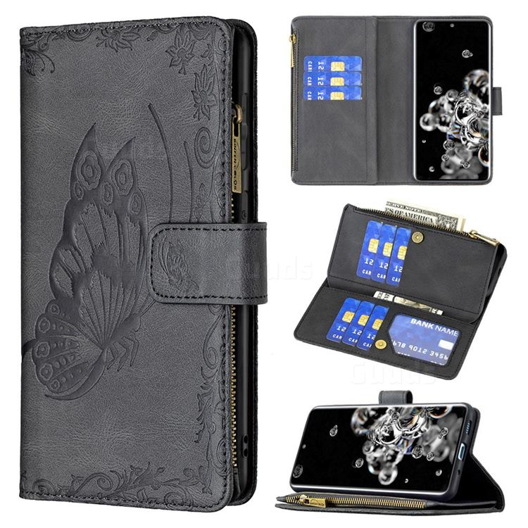 Binfen Color Imprint Vivid Butterfly Buckle Zipper Multi-function Leather Phone Wallet for Samsung Galaxy S20 Ultra - Black