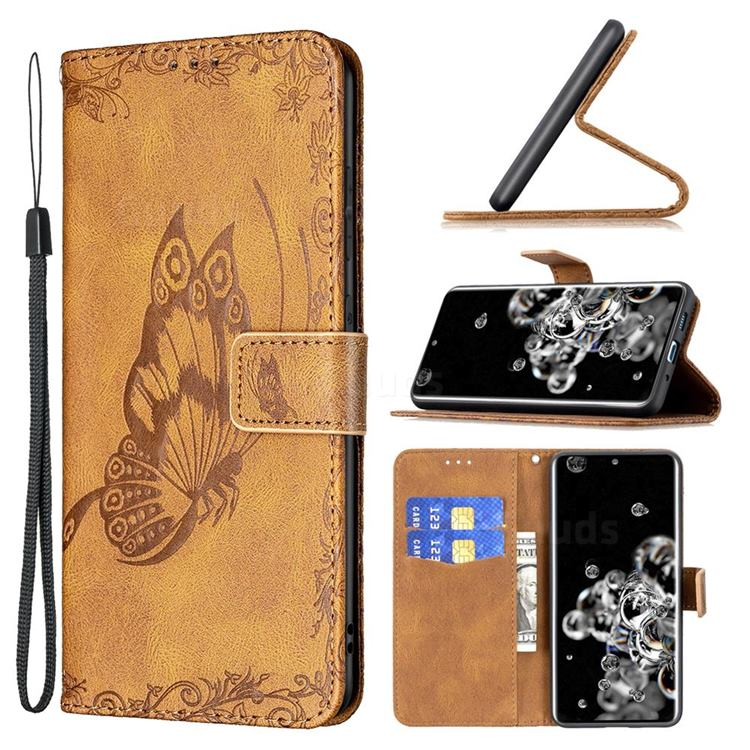 Binfen Color Imprint Vivid Butterfly Leather Wallet Case for Samsung Galaxy S20 Ultra - Brown