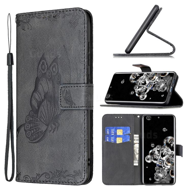 Binfen Color Imprint Vivid Butterfly Leather Wallet Case for Samsung Galaxy S20 Ultra - Black