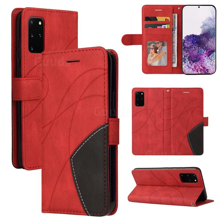 Luxury Two-color Stitching Leather Wallet Case Cover for Samsung Galaxy S20 Ultra - Red