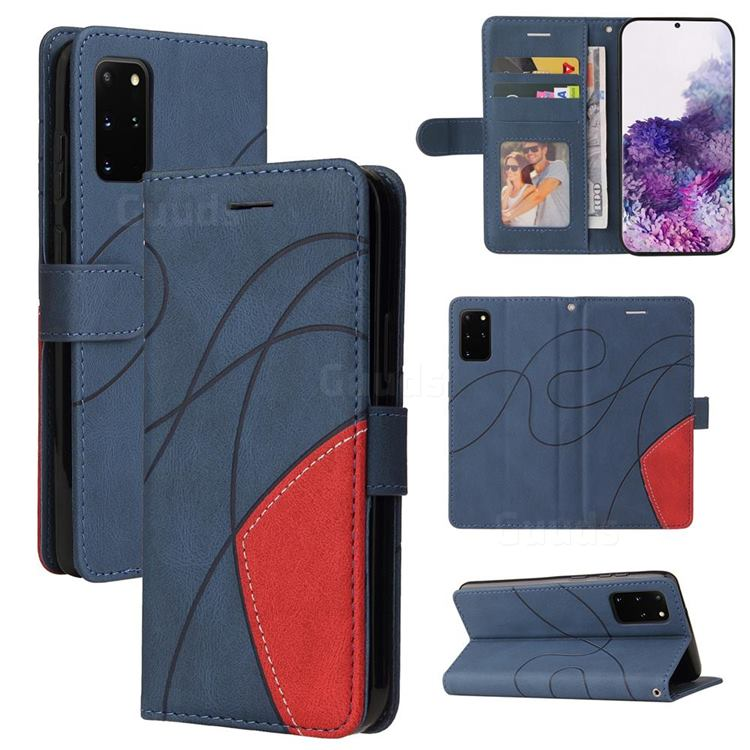 Luxury Two-color Stitching Leather Wallet Case Cover for Samsung Galaxy S20 Ultra - Blue
