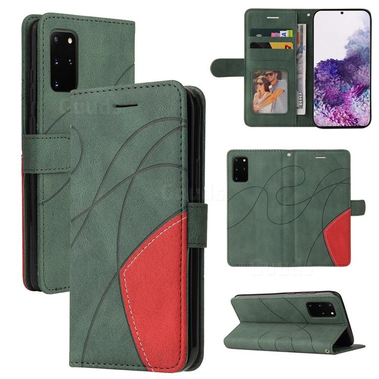 Luxury Two-color Stitching Leather Wallet Case Cover for Samsung Galaxy S20 Ultra - Green
