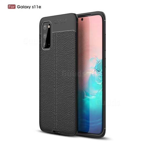 Luxury Auto Focus Litchi Texture Silicone TPU Back Cover for Samsung Galaxy S20 / S11e - Black