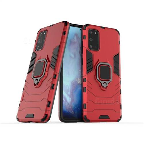 Black Panther Armor Metal Ring Grip Shockproof Dual Layer Rugged Hard Cover for Samsung Galaxy S20 / S11e - Red